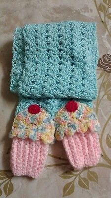 New Cupcake Scarf Handmade Crocheted Multi Colors, Blue,pink Bottom & Red Cherry
