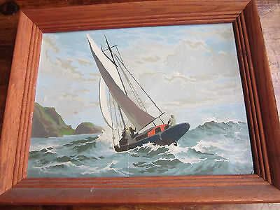 Pair of Paint by Number Sailing Boats Framed 12 by 16 inchs