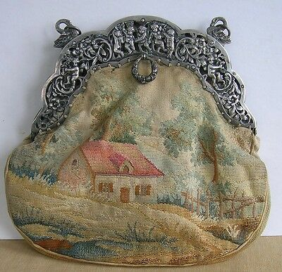 French Spingarns of Paris Silver Top Purse with Putti's