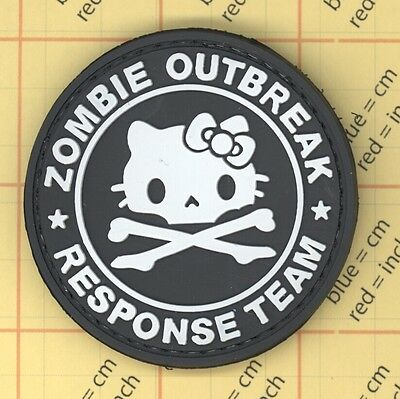 PVC Black  HELLO KITTY Zombie OUTBREAK PATCH Military Tactical Army Morale