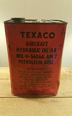 Vintage Texaco Aircraft Aviation Hydraulic Oil Can Gas & Oil