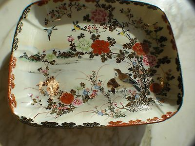 Antique Japanese Bowl Satsuma Pottery Handpainted with Gold Gilt Marked Signed