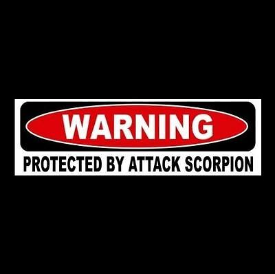 """Funny """"PROTECTED BY ATTACK SCORPION"""" window door decal BUMPER STICKER sign black"""