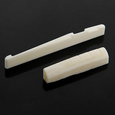Beige Buffalo Bone Bridge Saddle And Slotted Nut For 6 String Acoustic Guitar OZ