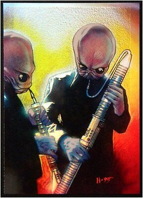 1996 Star Wars Finest Refractor Holochrome Parallel Gold Card 65 Cantina Band