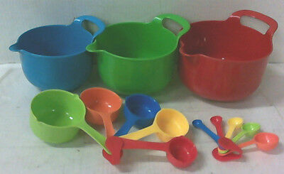 NEW 02-2099RG 13 PC Colourful Mix and Measure Prep Set Bowls Cups Spoons