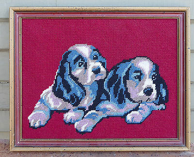 Vintage Hand Made Stitched Needlepoint Framed Dogs English Springer Spaniel