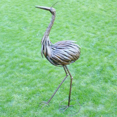 Crane Metal Stand Sea Bird Garden Lawn Ornament Decorative Sculpture Handmade