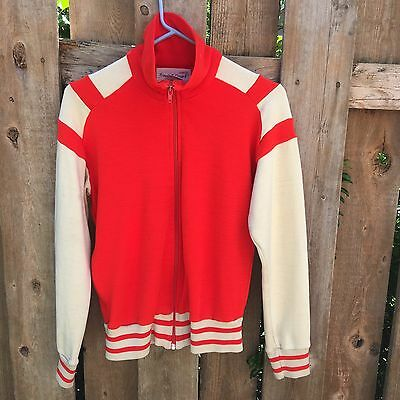 Vintage Athletic Track & Court Fleece Jacket Sweatshirt Zip up RED Women's S