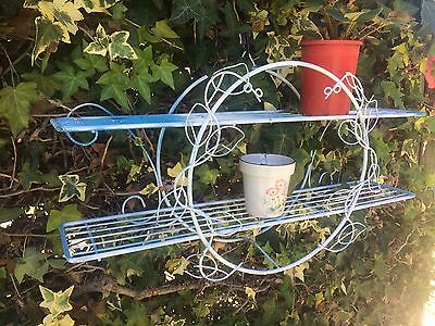 Metal hanging Plant Stand / shelf / garden decor - white blue upcycled