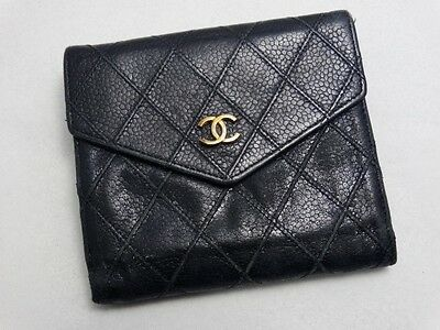 US SELLER Authentic CHANEL WALLET BLACK STITCH CAVIAR LEATHER COCO FRANCE