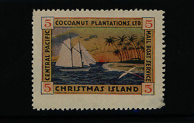 Christmas Island 1916 5c Cocoanut Plantation (perf 12.5) Mail Boat  - MINT
