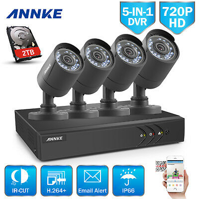 ANNKE 5in1 DVR Video 4X720P 1.0MP CCTV Outdoor Security Camera CVI System IR 2TB