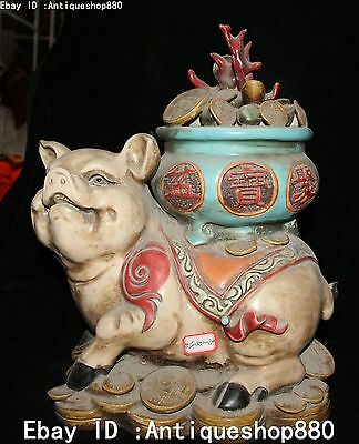 13'' Chinese Wucai Porcelain Fengshui Wealth Treasure Bowl Pigs Swine Statue