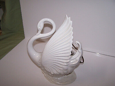 "Vtge 12"" Porcelain Ceramic White Swan Table Lamp Planter Electric Maddux of CA"