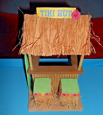 Hawaii Tiki Bar HUT w/surfboard & Sign Table Top Decor by Midwest Gifts HTF Rare