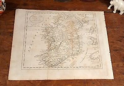 Original Rare 1805 Jedidiah Morse Map IRELAND Dublin Waterford Galway Cork Bray