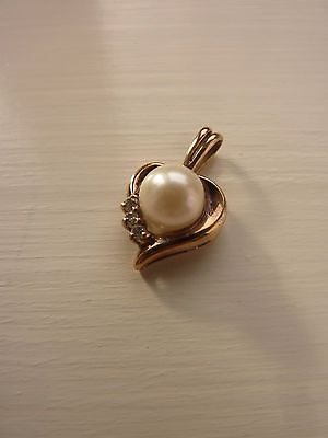 Vintage Gold, Diamond and Pearl Heart Pendant