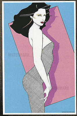 1980s Patrick Nagel Authentic Pin-Up In Fishnet Poster Art Print 11x17