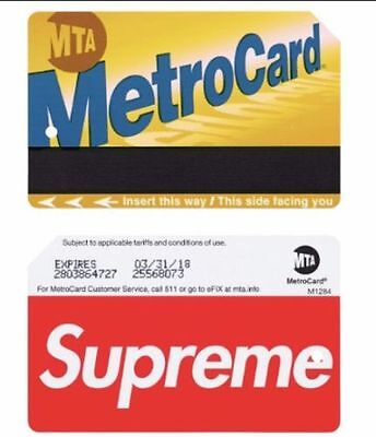 Supreme Metro Card Mta Ss17 - Brand New Metrocard Limited
