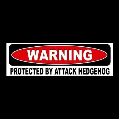 "Funny ""PROTECTED BY ATTACK HEDGEHOG"" window, door decal BUMPER STICKER sign, pet"