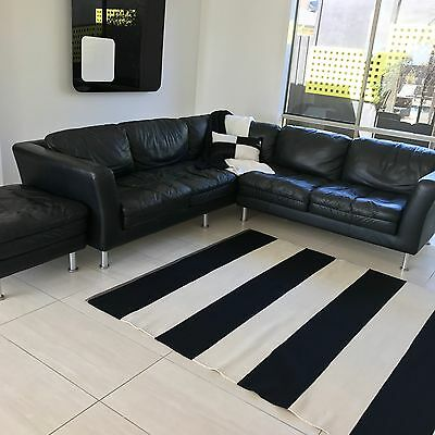 Modern Black Leather Modular 5 Seater Couch With Matching Ottoman