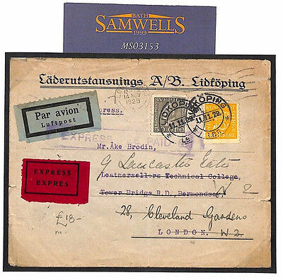 MS3153 1929 SWEDEN EXPRESS AIRMAIL *Lokoping* Cover GB London *EXPRESS FEE PAID*