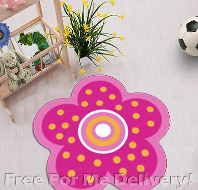 KIDS EXPRESS FLOWER SHAPE PINK FUN FLOOR RUG (XS) 100x100cm **FREE DELIVERY**