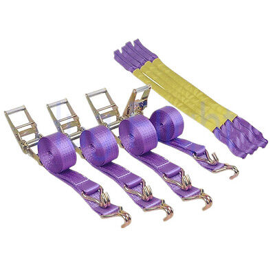 4 x Trailer Strap Ratchet Tie Down Strap Recovery Alloy Wheel Straps 50mm Duty