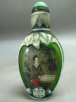 Chinese Hand Inside-drawing Belle Pattern Glass Snuff Bottle