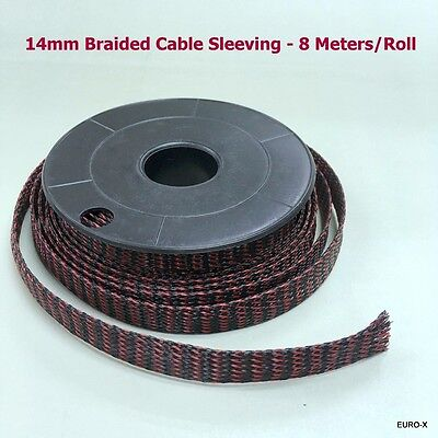 14mm Expandable Braided Blk+Red Cable Sleeving Wire Protect Net 8M/Lot #UKa1