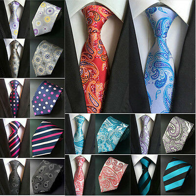 Mens New Classic Jacquard 8cm Wide Polyester Neckties Ties Many Design HZ031