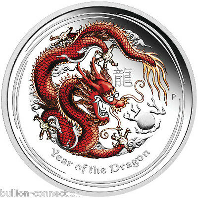 2012 1/2 oz Proof Colorized Australian Dragon Silver in original plastic capsule