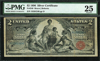 "1896 $2 Silver Certificate FR-248 - ""Educational"" - Graded PMG 25 - Very Fine"