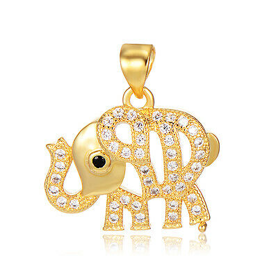 Childrens Girls Crystal Elephant Pendant Hollow Yellow Gold plated Child Jewelry
