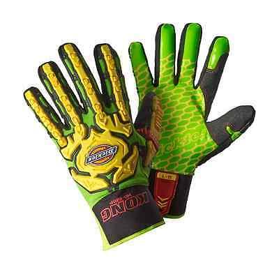 Dickies Mens Heavy Duty Super Grip Impact Glove Green Various Size GL01SG