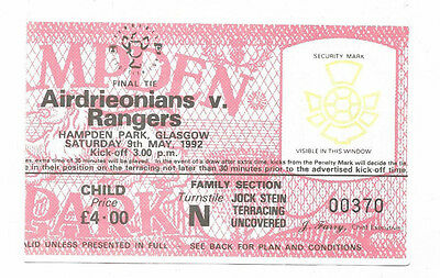 Ticket 1992 Scottish Cup Final - RANGERS v. AIRDRIEONIANS