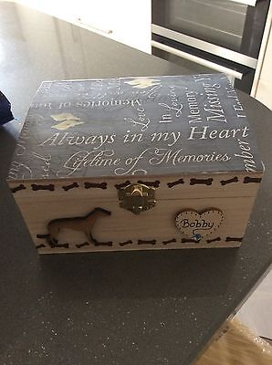 Dog Cat Pet In Loving Memory Wooden Box Casket Ashes Personalised Urn Coffin