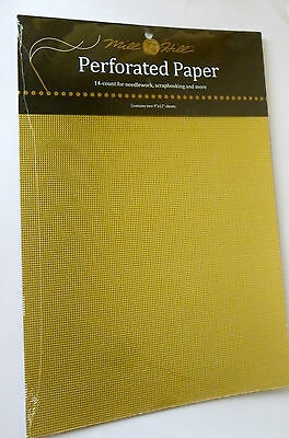 Mill Hill Perforated paper 14 count 2 sheets 9 x 12 inch Gold