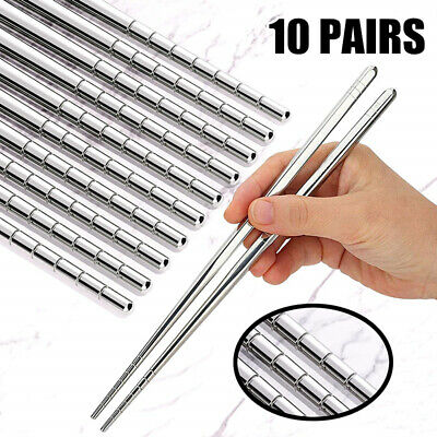 10 Pairs Reusable Chopsticks Metal Stainless Steel ChopSticks Korean 22.5CM