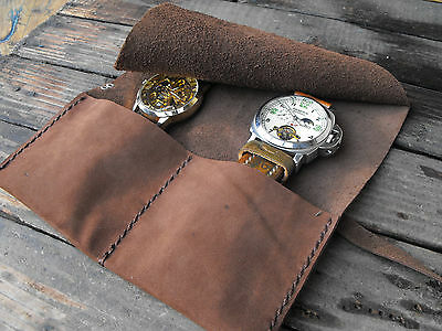 Travel watch roll, leather watch rolls, watch pouches, rolling watch holder