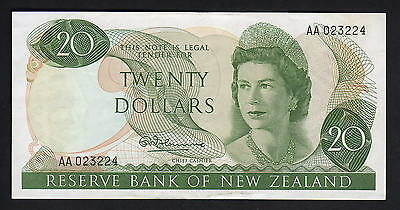 NEW ZEALAND P-167a.  (1967) 20 Dollars - 1st Prefix AA.. Fleming.. gVF - Crisp