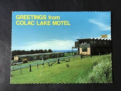 Vintage Postcard GREETINGS FROM COLAC LAKE MOTEL, VIC Nucolorvue, Advertising