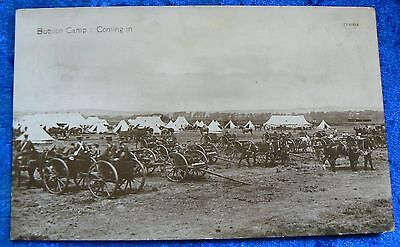 """Pre WW1, A photo postcard titled """"Buddon Camp : Coming in"""" posted 1913"""