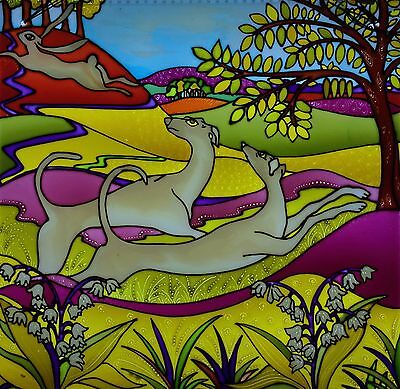 """""""Hares and Hounds"""" Unique Stained glass style hand painted glass panel to hang"""