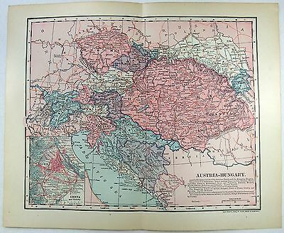 Original 1902 Dated Map of Austria Hungary by Dodd Mead & Company