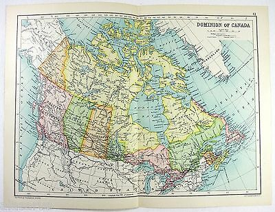 Original 1909 Map of The Dominion of Canada - by John Bartholomew