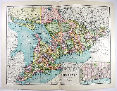 Original 1909 Map of Ontario, Canada - by John Bartholomew