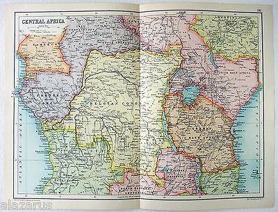 Original 1909 Map of Central Africa in the Colonial Era by John Bartholomew & Co