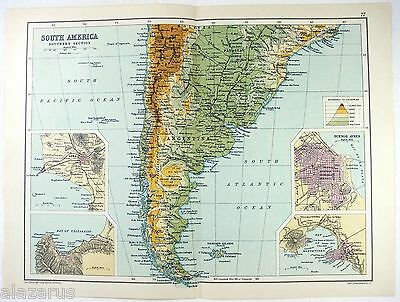 Original 1909 Physical Map of The Southern Part of South America